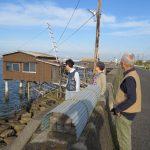 朝は児島湾の四ツ手網見学。